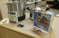 Canning supplies on display for our program